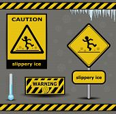 pic of slip hazard  - vector sign caution slippery ice warning collection - JPG