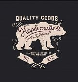 picture of bear  - hanmade illustration vector emblem label sketch bear - JPG