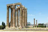 stock photo of olympian  - The Temple of Olympian Zeus is a colossal ruined temple in the centre of the Greek capital Athens that was dedicated to Zeus - JPG