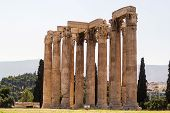 picture of olympian  - The Temple of Olympian Zeus is a colossal ruined temple in the centre of the Greek capital Athens that was dedicated to Zeus - JPG
