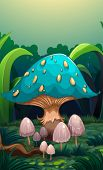 Illustration of a giant mushroom surrounded with small mushrooms