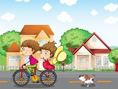 Abbildung ein Junge und ein Mädchen, Biken, gefolgt von einem Hund