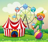 Illustration of a clown standing above the ball at the carnival