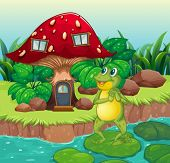 Illustration of a frog standing near the red mushroom house