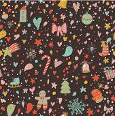 Petty seamless christmas pattern with a lot of elements: stars, trees, gingerbread man, bow, bell, snowflakes, balls, gifts, christmas sock, mitten, ice-skate, hearts. Funny new year design texture.