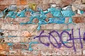 Brick Wall With Peeling Paint And Graffiti