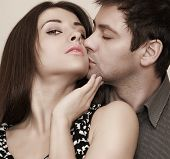 Closeup Portrait Of Sexy Fashion Couple Kissing And Hugging
