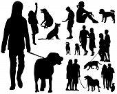 People with dog,.eps