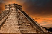 foto of serpent  - Kukulkan Pyramid in Chichen Itza Site Yucatan Mexico - JPG