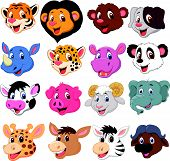 stock photo of rhino  - Vector illustration of Cartoon animal head collection set - JPG