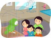 Illustration of Stickman Family Buying a Bird From a Pet Store