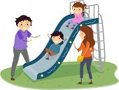 Illustration of Stickman Family in a Playground with Kids Playing in Slide