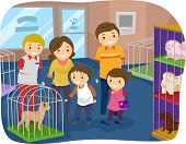 picture of stickman  - Illustration of Stickman Family Buying a Dog From a Pet Store - JPG