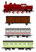 stock photo of loco  - Silhouettes of locomotive and wagons in retro style - JPG