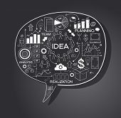 business strategy plan concept idea, speech bubble with doodle icons. File stored in version AI10 EP