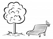Bird on park bench and tree, contour