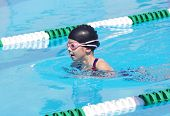picture of breast-stroke  - Young Swimmer at Swim Meet - JPG