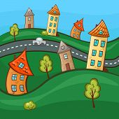 Suburbs and houses on background