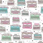 Seamless vintage illustration typewriter background pattern in vector