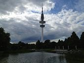 Hamburg TV Tower Past Lake