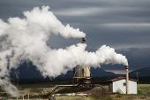 geothermal power station green sustainable alternative and clean energy a small local plant in Iceland technology to fight global warming