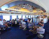 PORTOFERRAIO, ITALY - JUNE 30:Unidentified passengers on ship Corsica Express Seconda. Luxury ship with capacity 700 passengers and 150 vehicles. June 30, 2013 in Portoferraio, Island of Elba, Italy.