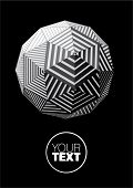 Sphere with black and white triangular striped faces for graphic design