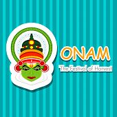 South Indian festival Onam wishes background with Kathakali dancer.