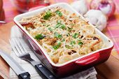 Italian style baked pasta with cheese and bacon
