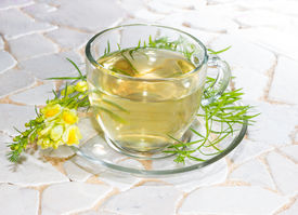 image of laxatives  - Cup of yellopw toadflax or Linaria vulgaris infusion or tea in a clear glass cup used in naturopathy as a diuretic and laxative - JPG
