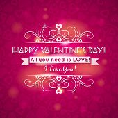 Pink Valentines Day Greeting Card  With  Hearts,  Vector