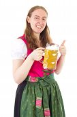stock photo of stein  - Woman in dirndl with beer stein and thumbs up - JPG