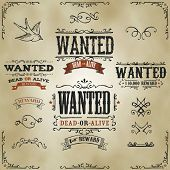 stock photo of hunter  - Illustration of a set of hand drawn vintage old wanted dead or alive reward western movie placard banners with sketched floral patterns ribbons and far west design elements on striped background - JPG