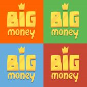 set of icons labeled big money