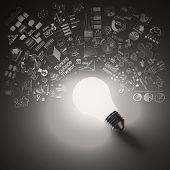Light Bulb 3D On Business Strategy Background