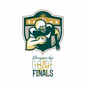 foto of scat  - Illustration of an american football gridiron wide receiver running back player running with ball facing side set inside shield with stars done in retro style with words Championship Game Finals - JPG
