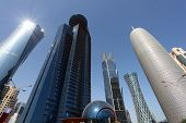 stock photo of qatar  - Skyscrapers downtown in Doha Qatar Middle East - JPG