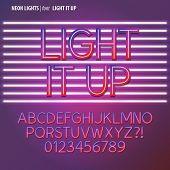 Neon Lights Alphabet And Digit Vector