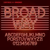 stock photo of broadway  - Set of Red Broadway Light Bulb Alphabet And Digit Vector - JPG