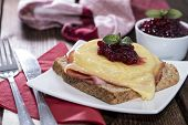 Toast Hawaii Topped With Cranberries