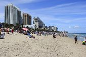 Beach Crowded With Spring Vacationers