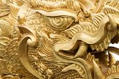 stock photo of dragon head  - head of Chinese gold dragon  - JPG