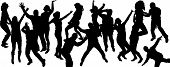 Vector silhouette dancing people