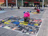 Street Painter At Work
