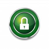 Protected Circular Green Vector Web Button Icon
