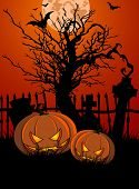 Halloween Illustration with Tombstone and Pumpkins for banners or invite. Raster version.