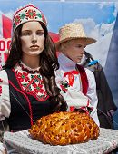 Belorussian National Clothes And Bread