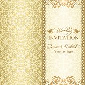 Baroque wedding invitation, gold
