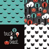 Seamless kids halloween illustration pumpkin cat background pattern and trick or treat cover design