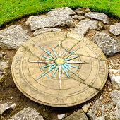 A compass rose in a small park next to York's Medieval City Walls.